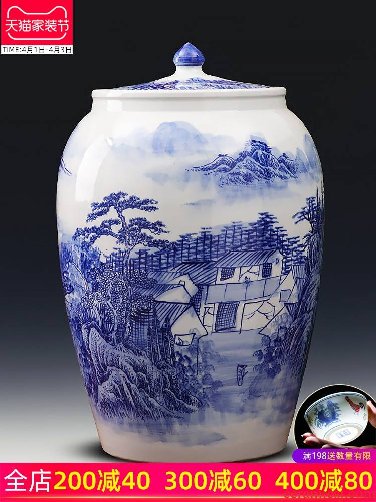 Jingdezhen ceramic barrel with cover ricer box tank cylinder 50 kg insect - resistant seal storage tank