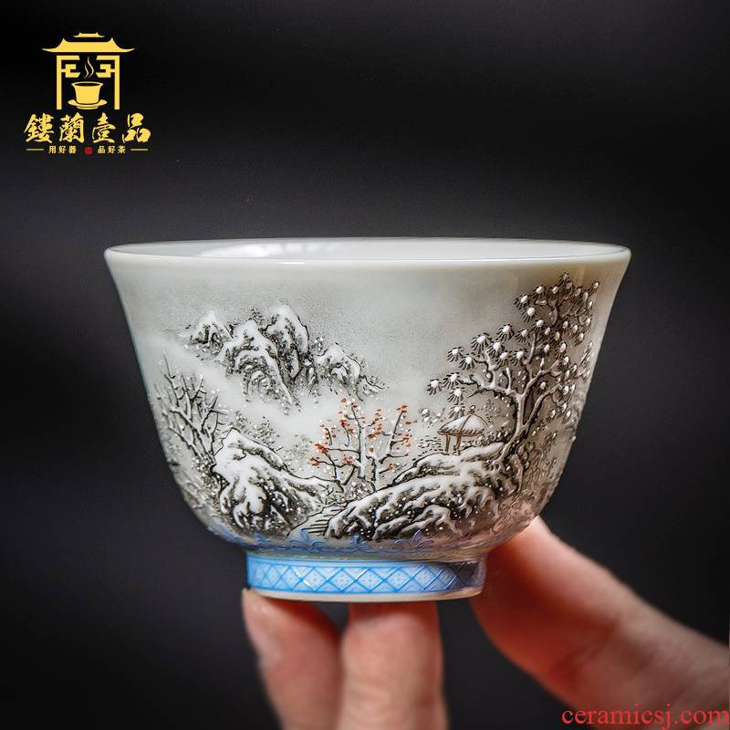 Through the snow all hand color ink for mei hand - made master of jingdezhen ceramic kung fu tea set large single cup tea cup
