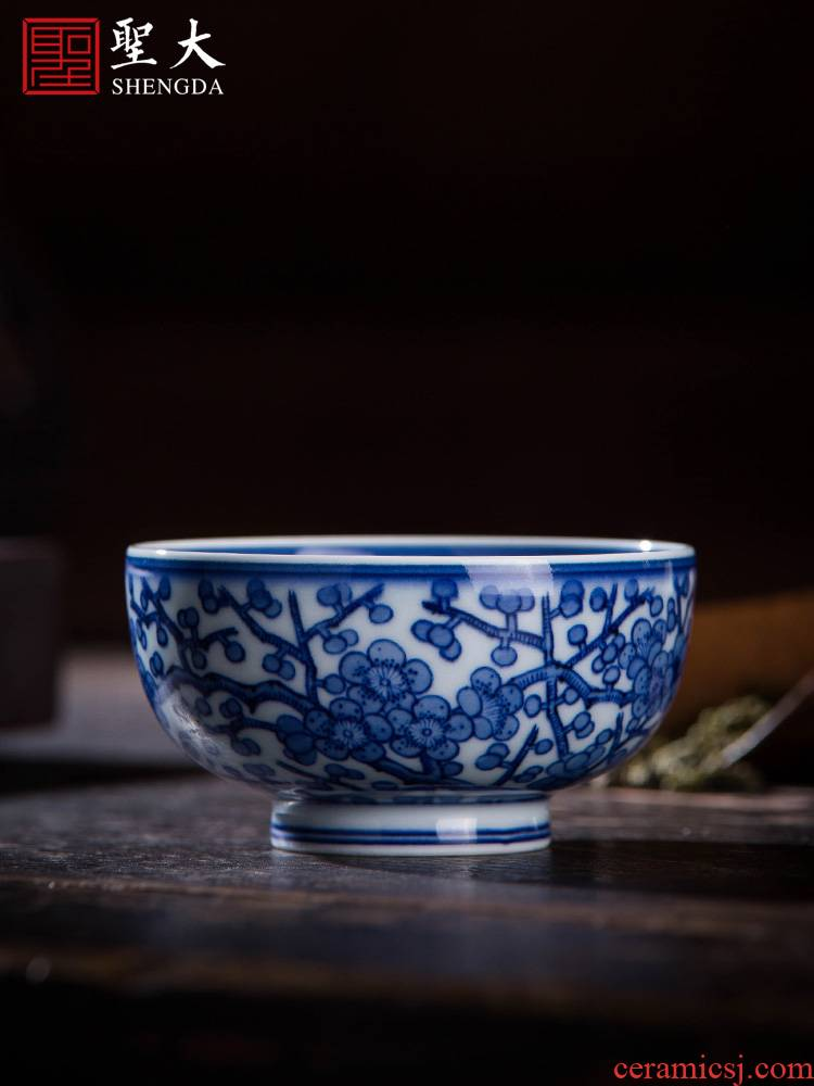 Holy big cup sample tea cup hand - made ceramic kungfu archaize jingdezhen blue and white name plum blossom put tattoo master cup tea cup
