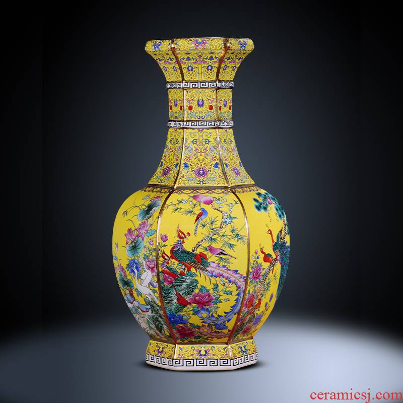 Jingdezhen ceramics imitation antique colored enamel vase furnishing articles sitting room of Chinese style household flower arranging TV ark, adornment
