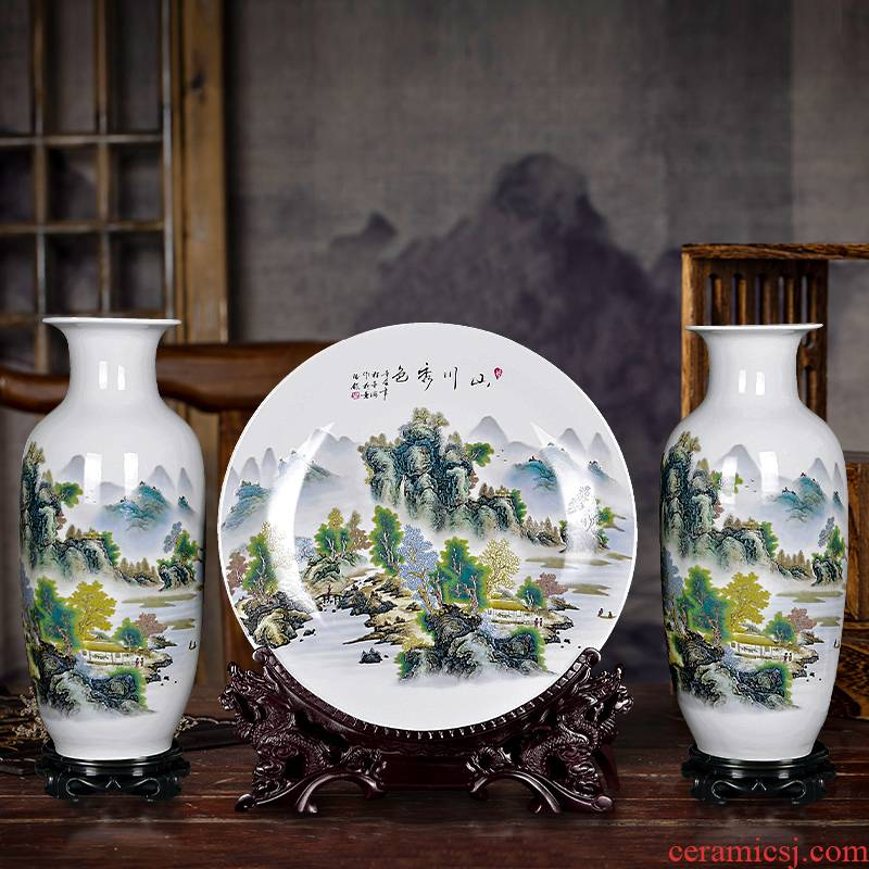 Jingdezhen ceramics flower vase three - piece furnishing articles home sitting room ark, dry flower adornment large - sized cb79