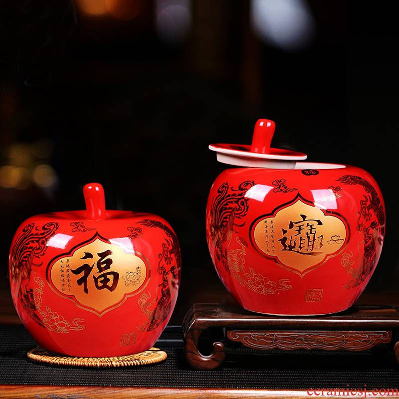Jingdezhen ceramics vase furnishing articles China red apple with cover modern household adornment newly - I bridal chamber pot
