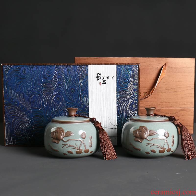 Ceramic tea pot seal pot bulk storage tanks, black tea, green tea pu 'er tea general receives an empty box gift box