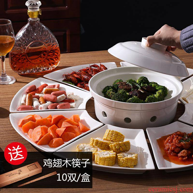 Creative reunion big platter suit household dinner chafing dish platter composite ceramic tableware fan 0