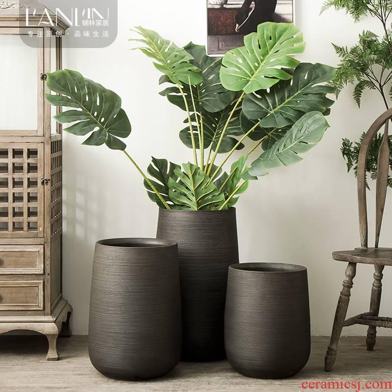 The Nordic idea ground flower arranging ceramic flower implement green plant decoration to The hotel villa furnishing articles vase VAT black flower pot