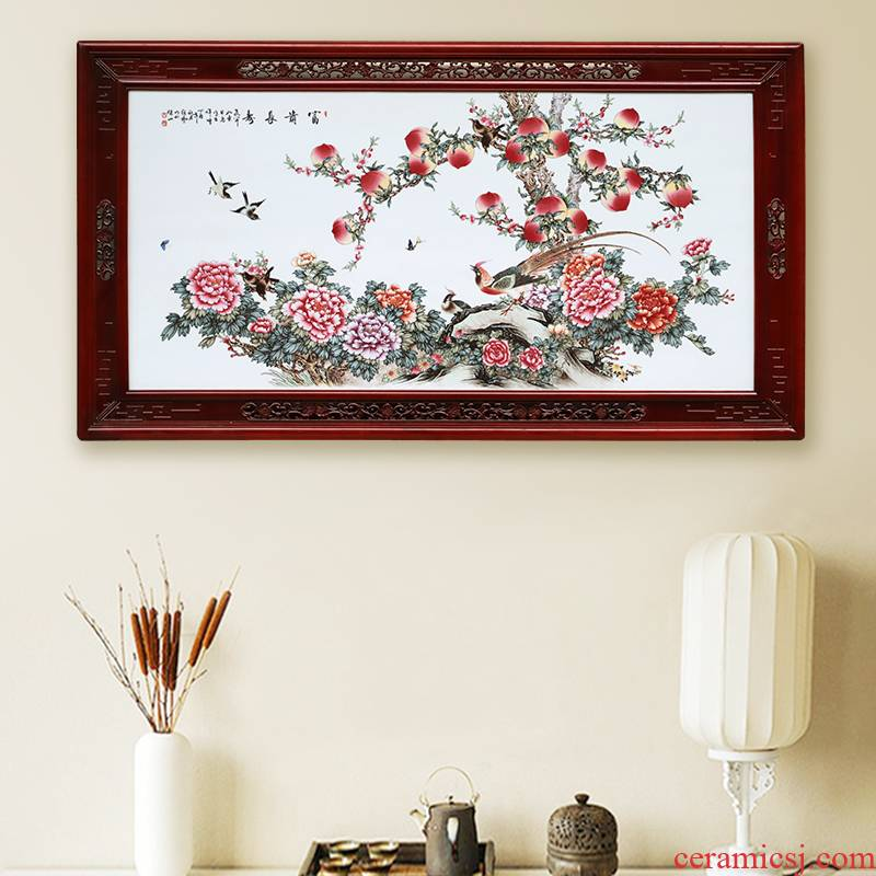 Jingdezhen ceramic porcelain plate paint Chinese paintings hanging famous landscape painting master wealth longevity porcelain plate painting