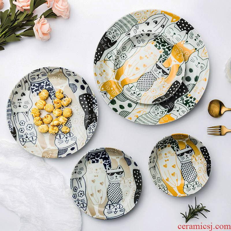 Creative Japanese tableware ceramic bowl dish dish city cat home rice bowls bowl rainbow such as bowl dish dish soup plates