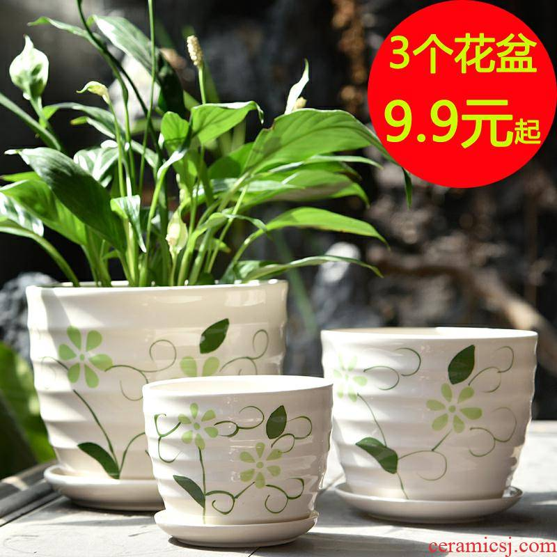 Flowerpot ceramic creative move large clearance specials with extra large tray household more than other meat wholesale flower pot