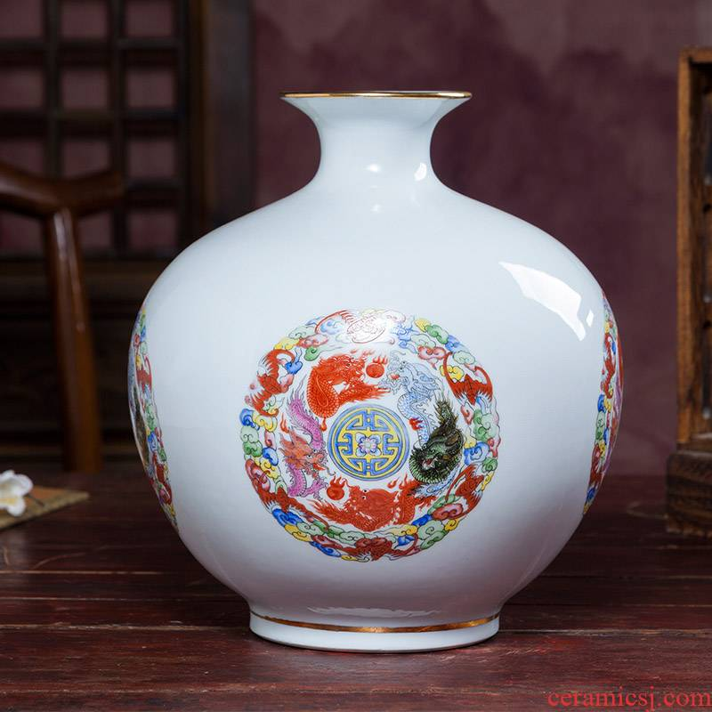 Jingdezhen ceramics Chinese antique vase living room TV cabinet in living in adornment handicraft pomegranate bottle small place