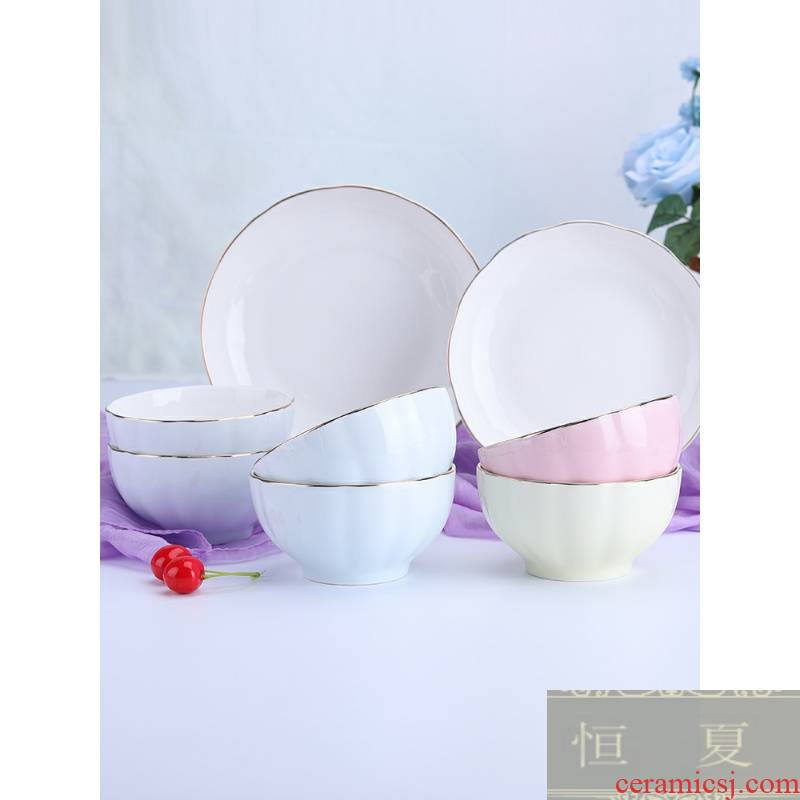 Pink for household jobs 10 the packed dishes suit Japanese ceramic bowl chopsticks dishes ceramic rice bowl