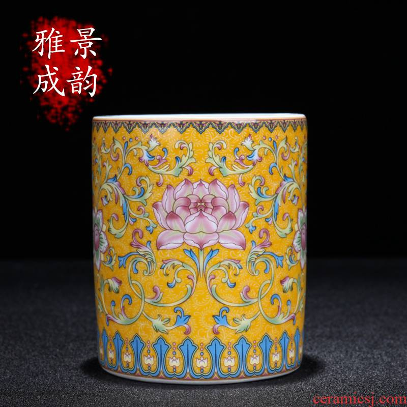 Jingdezhen porcelain enamel see colour pen container of new Chinese style decoration porcelain decoration in place to live in the living room a study desk