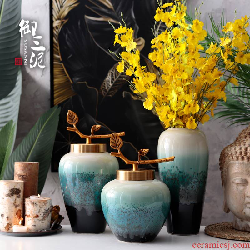 I and contracted sitting room of the new Chinese style flower arranging desktop home furnishing articles dried flower adornment European ceramic glaze vase