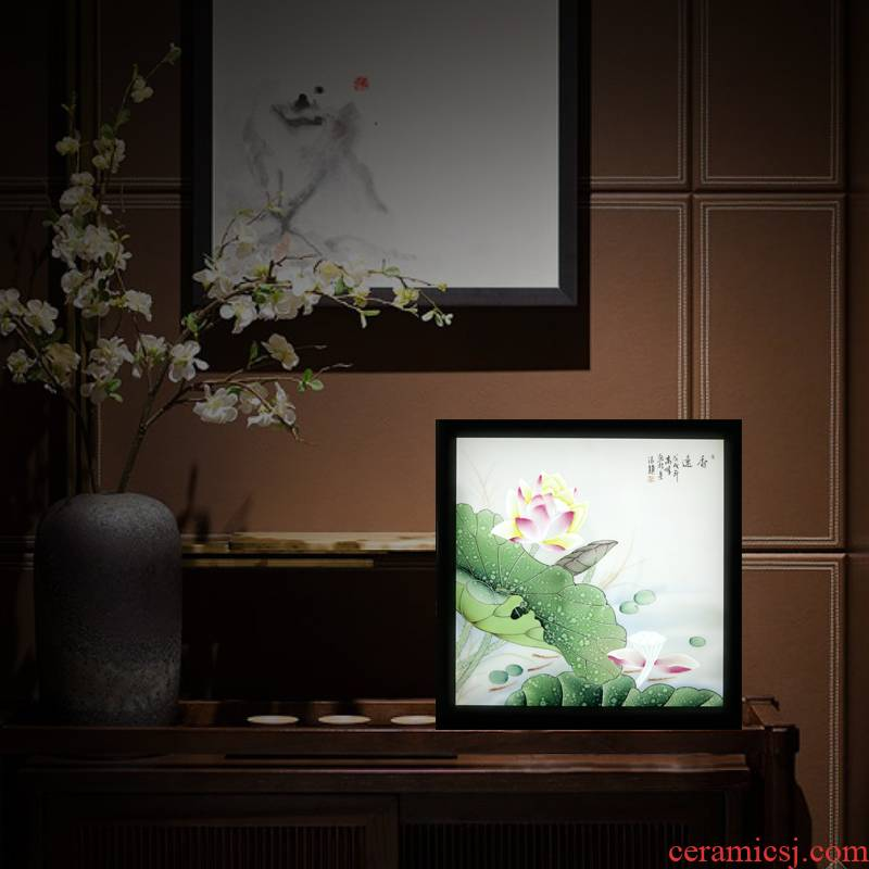 Jingdezhen ceramic decoration XiangYuan hang a picture to arts and crafts porcelain plate painting murals of the study of new Chinese style office lotus