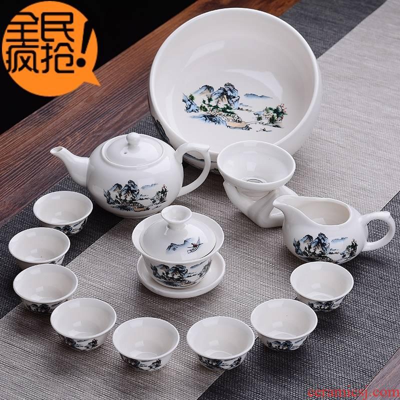 Hui shi kung fu tea set special package mail cup teapot a complete set of ceramic tea set tea tureen white porcelain