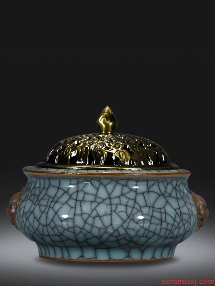 Jingdezhen ceramics archaize crack lion alloy cover censer household sandalwood aroma stove sitting room place