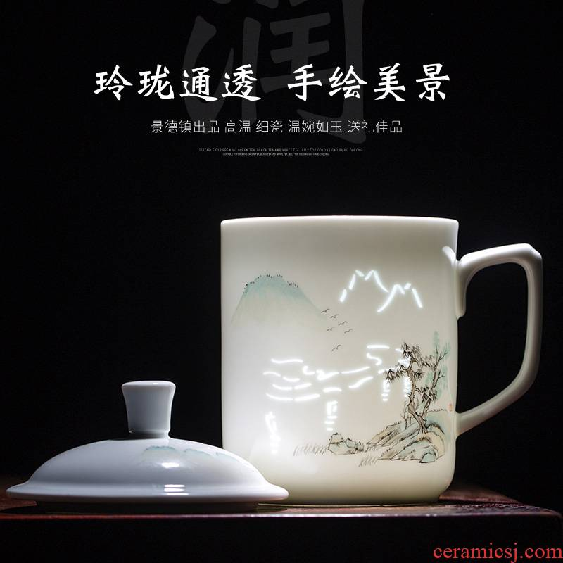 Hand made exquisite office cup of jingdezhen porcelain famille rose porcelain cups with cover large household glass tea cup