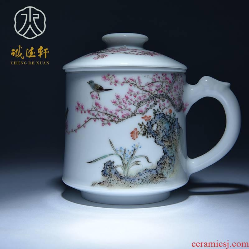 Cheng DE hin jingdezhen ceramic tea set, high - grade pure hand draw pastel LanXin incense sticks to 5 cups