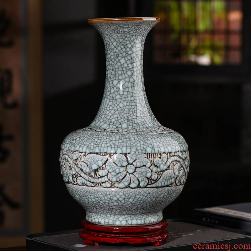 Archaize of jingdezhen ceramics up dried flower vase planting Chinese style classical retro do old sitting room adornment is placed