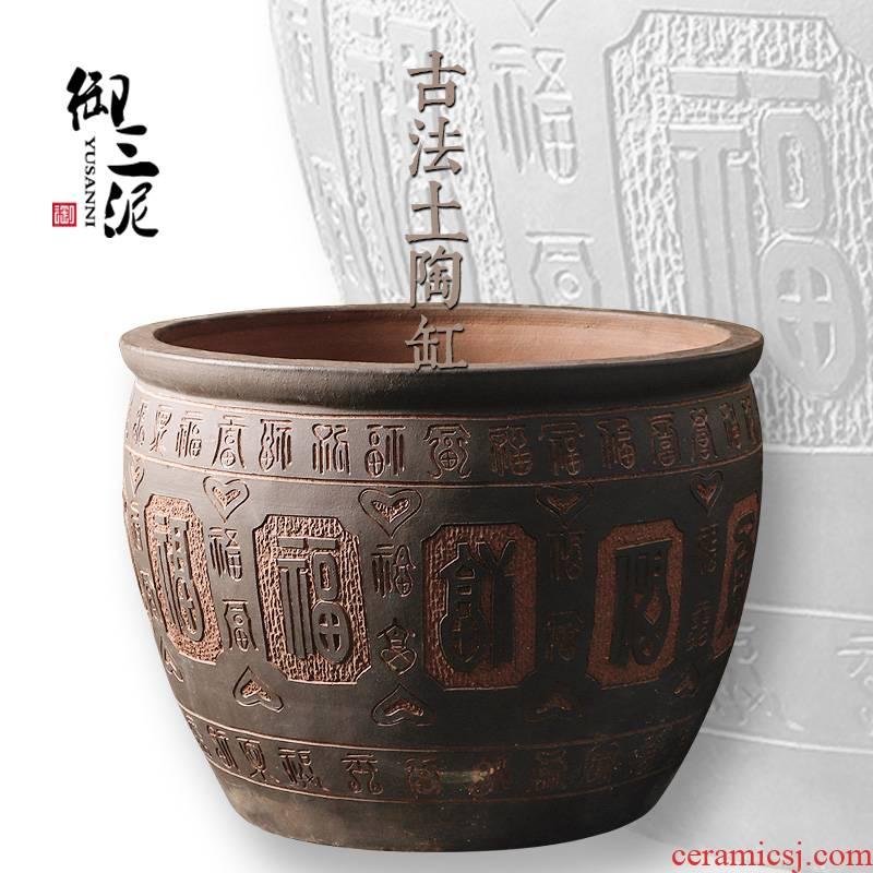 Jingdezhen ceramic head lotus carving ave VAT aquarium turtle carved large large earthenware tank base
