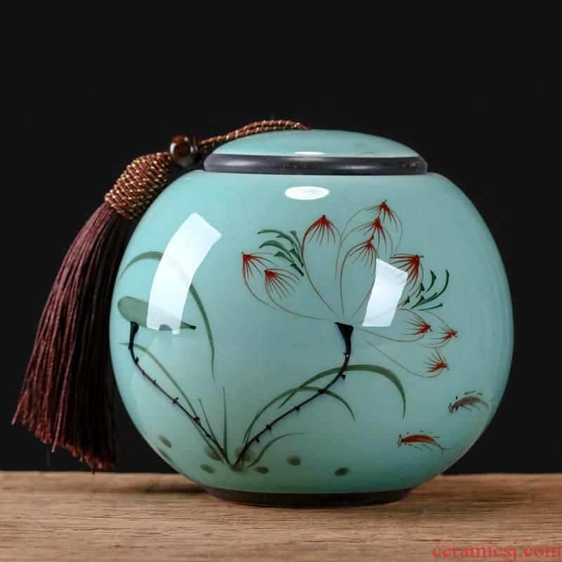 Jingdezhen hand - made caddy fixings suit small storage tank pu 'er tea tea POTS awake ceramic seal storage tank