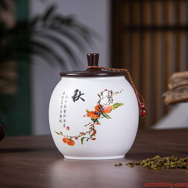 Jingdezhen ceramics seal caddy fixings Chinese style household with cover storage tanks with pu 'er tea tea pot