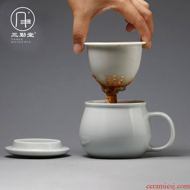 Three frequently hall jingdezhen ceramic filter cups make tea cup tea home office with cover celadon tea cup