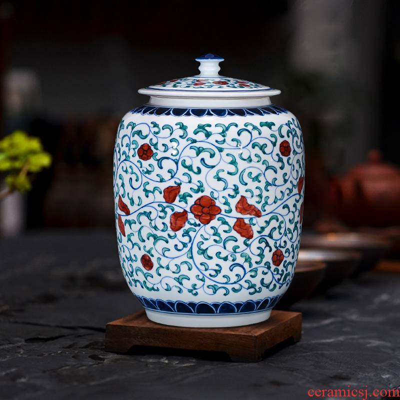 Antique porcelain porcelain of jingdezhen ceramics youligong seal pot home decoration furnishing articles caddy fixings household size
