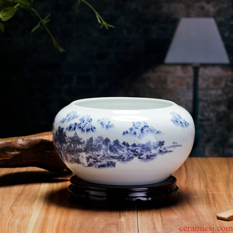Jingdezhen blue and white ceramics goldfish bowl water lily bowl lotus tortoise cylinder fish basin writing brush washer from sitting room desktop furnishing articles