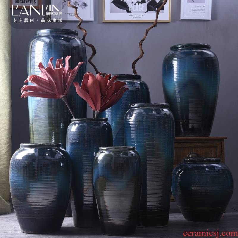 European modern vase large living room decoration flower arranging hotel villa clubhouse blue jingdezhen ceramic furnishing articles