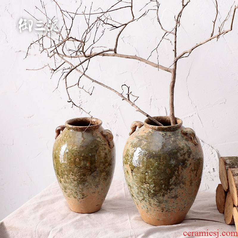 Put the vase meaty plant flower pot zen Japanese jingdezhen manual coarse pottery dried flowers floral restoring ancient ways of home stay facility