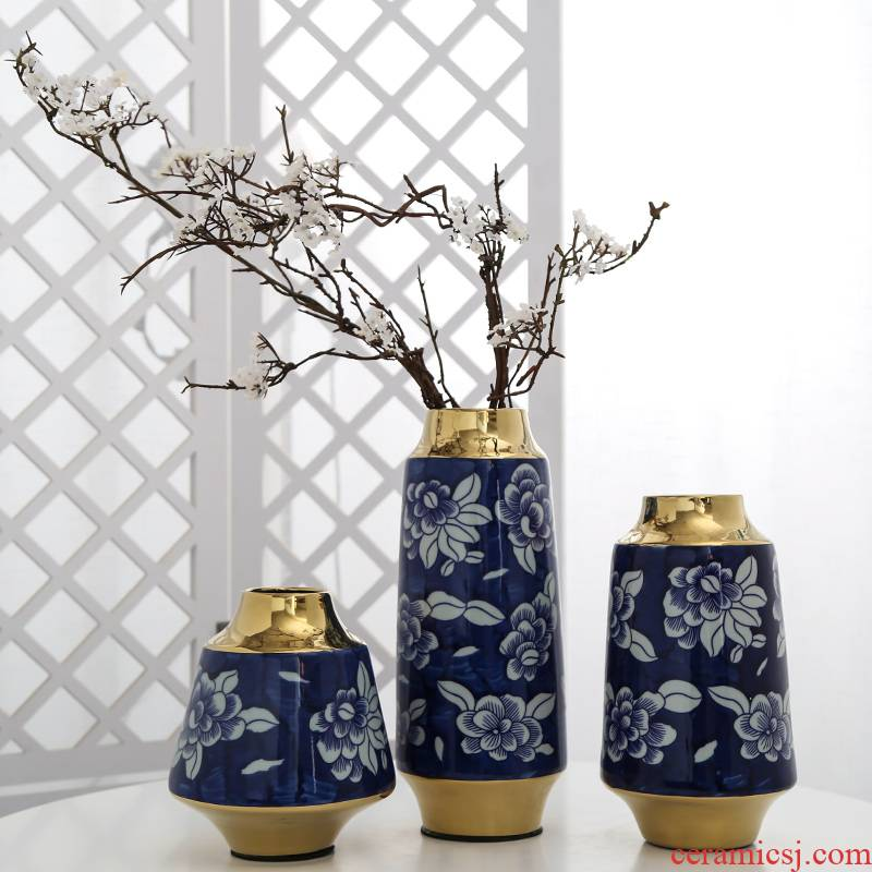 Mesa of jingdezhen ceramic light key-2 luxury furnishing articles table sitting room adornment ornament hydroponic vase simulation artificial flowers
