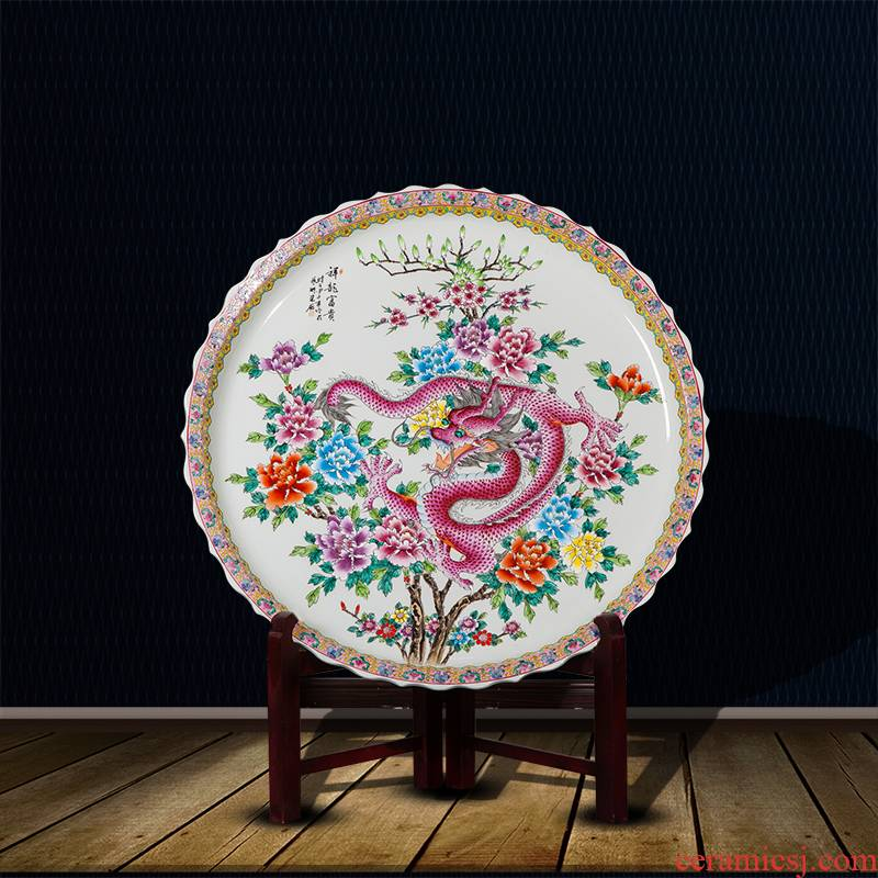 Jingdezhen ceramics hand - made famille rose decoration dish of Chinese style sitting room adornment metope place hotel hang dish