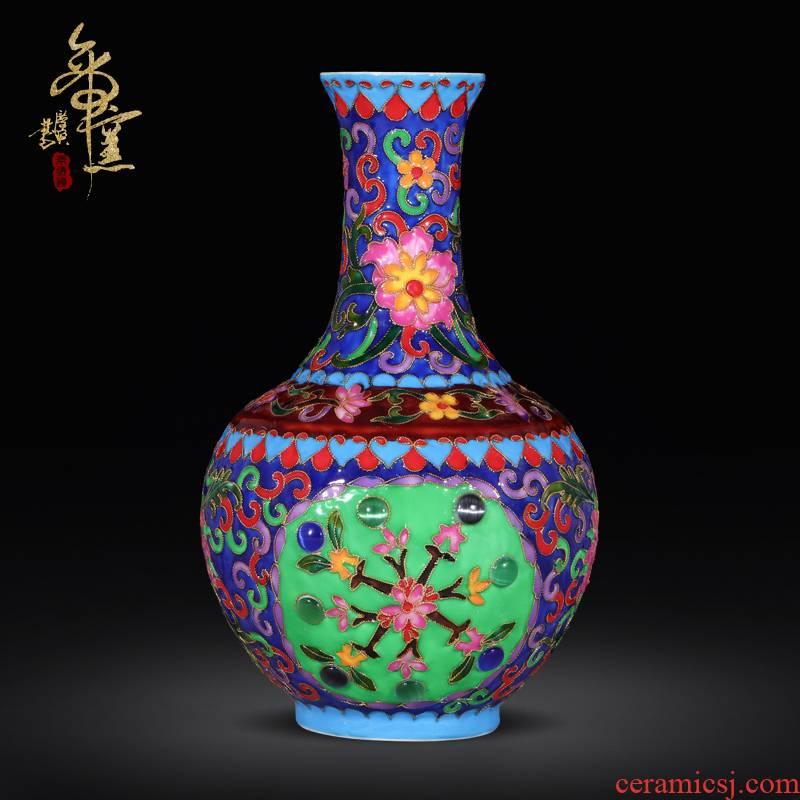 Emperor up pinch silk flower vase furnishing articles classical cloisonne enamel TV ark adornment of jingdezhen ceramics