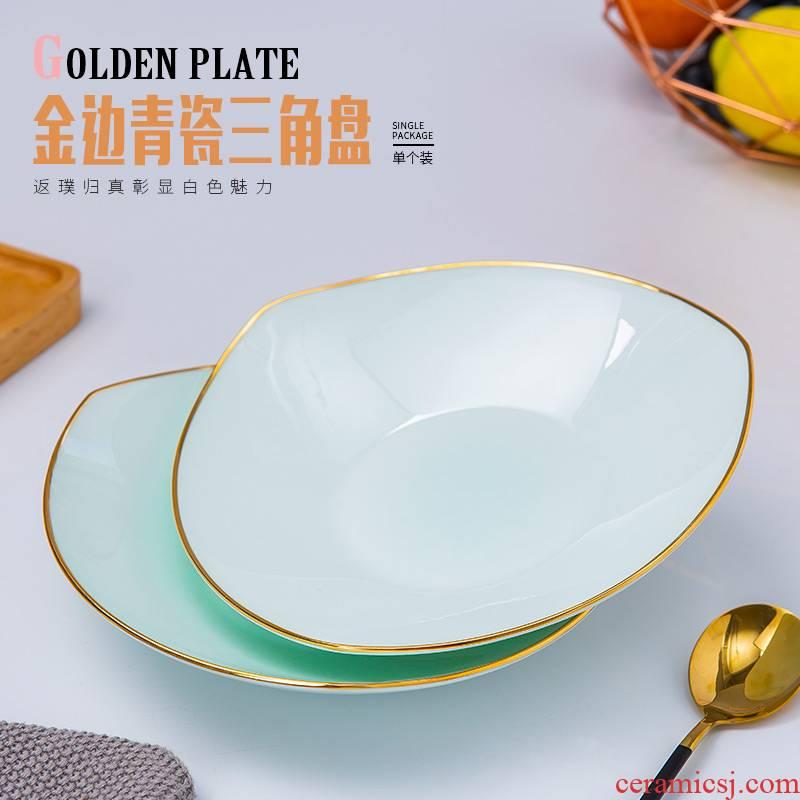 Jingdezhen ceramic tableware ceramic creative household abnormity deep dish celadon up phnom penh dish salad triangle plate