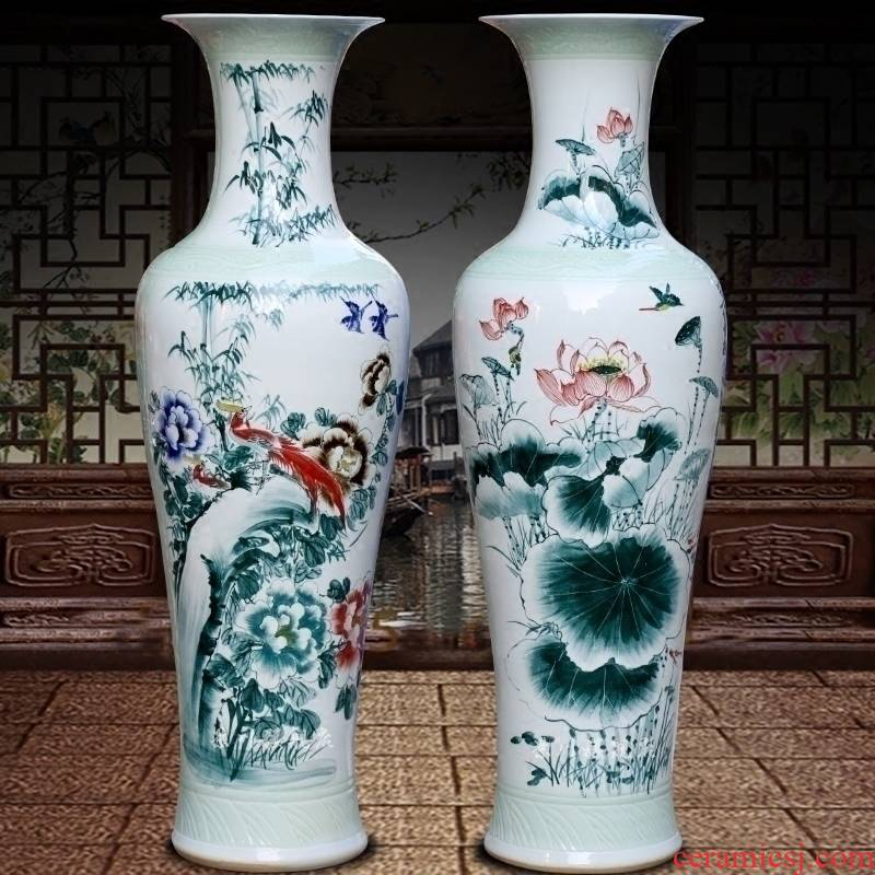 Hand - made flowers peony carving shadow qdu porcelain of jingdezhen ceramics of large vases, sitting room adornment is placed