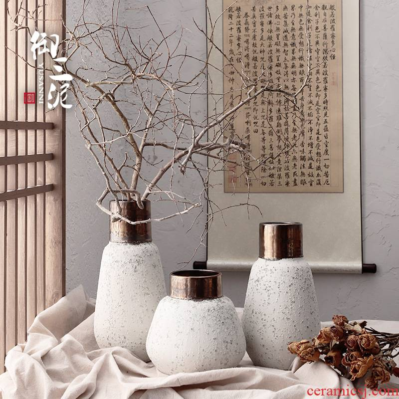 Light the key-2 luxury of I and contracted ceramic vases, dried flower adornment furnishing articles coarse some ceramic pot retro flower arranging flowers, snowflakes wu cooper