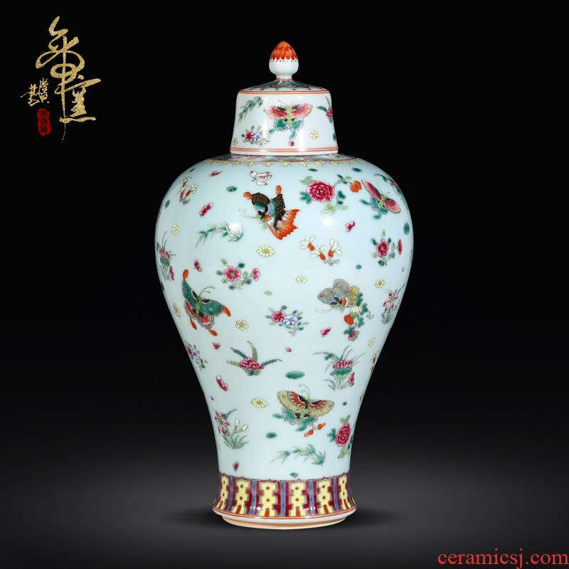 Jingdezhen imitation the qing antique collection hand - made famille rose porcelain cover tank best butterfly tattoo Chinese style living room decoration vase furnishing articles