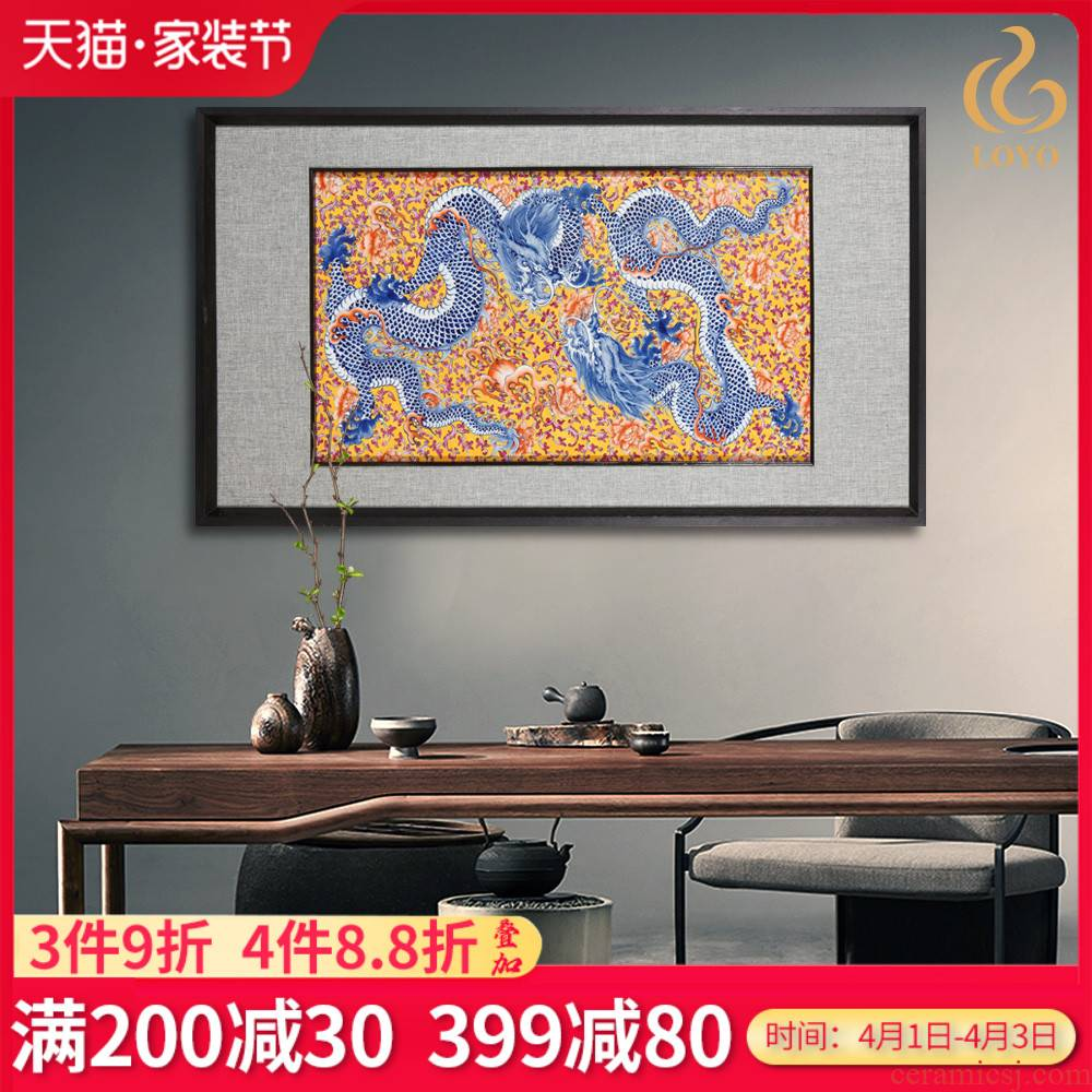 Jingdezhen ceramics hand - made dragon porcelain plate adornment style living room sofa setting wall hangs a picture hotel mural