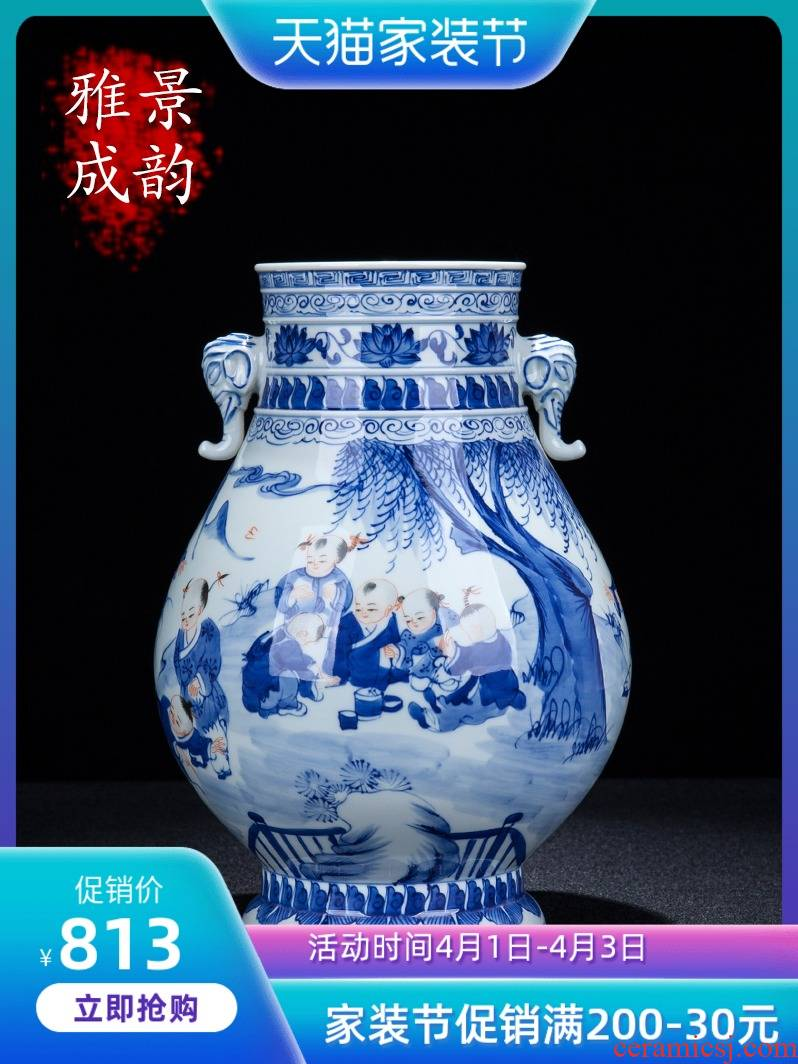 Jingdezhen ceramic new Chinese blue and white tong qu vase decoration place to live in the sitting room porch flower vase