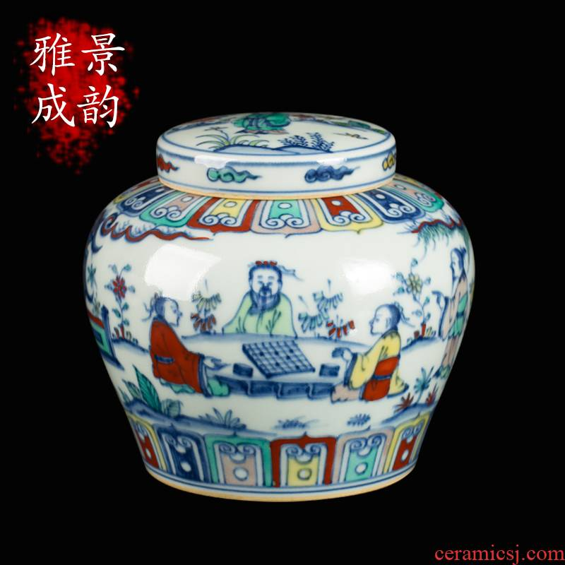 Jingdezhen ceramic manual color bucket storage POTS storage tank word tank decoration decorative furnishing articles antique porcelain tea day