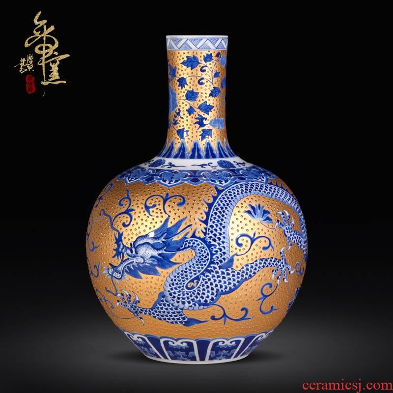 Jingdezhen ceramic is manually set Jin Longteng shengshi tree high - grade villa style living room decoration vase furnishing articles