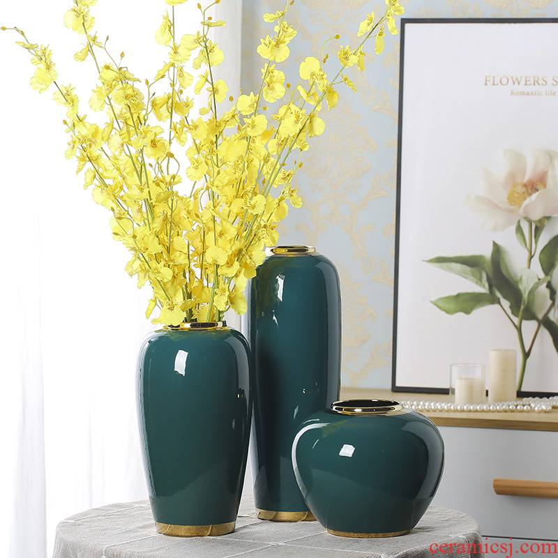 Light European - style key-2 luxury jingdezhen ceramic vases, new Chinese style is contracted place flower arranging dried flowers of I sitting room porch decoration