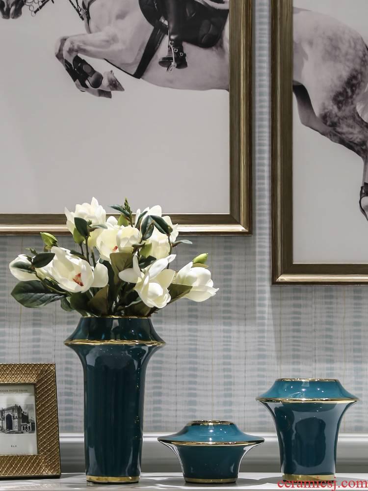 European ceramic vase furnishing articles of modern living room TV ark, flower arranging creative decoration porch ark, home decoration