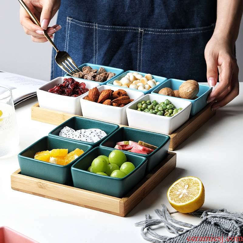 The Nordic ceramic platter of fruit home sitting room space plate combination multicolor snack plate The nut snacks. Dish
