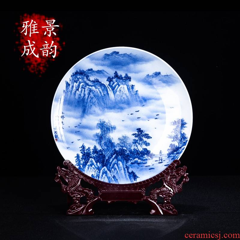 The New Chinese blue and white porcelain of jingdezhen ceramics Bridges place to live in the living room a study porcelain porcelain decoration