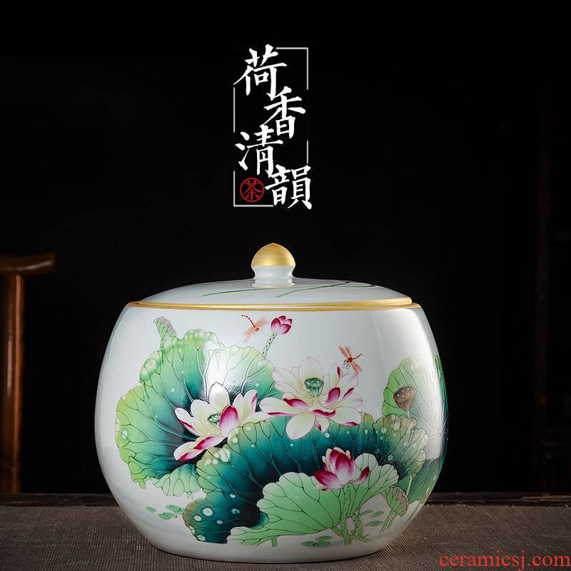 Jingdezhen large ceramic tea caddy fixings seal pot home storage tank puer tea cake cake tin, furnishing articles