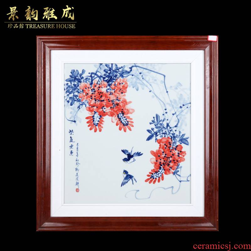 Jingdezhen ceramic decoration have box wood living room hangs a picture of Chinese style household hand - made of blue and white porcelain sabingga sukdun dergici jimbi