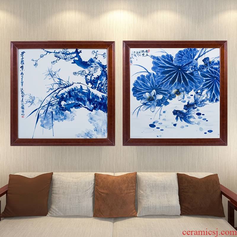 Hand - made gentleman elegant set of blue and white porcelain porcelain plate painting sitting room porch hang a picture of the new Chinese style sofa setting wall decoration