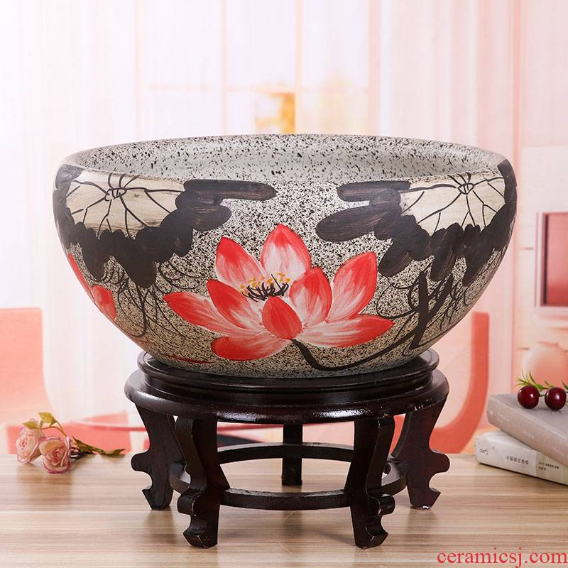 Jingdezhen ceramic aquarium basin lotus large turtle fish bowl lotus pond lily home furnishing articles water ideas