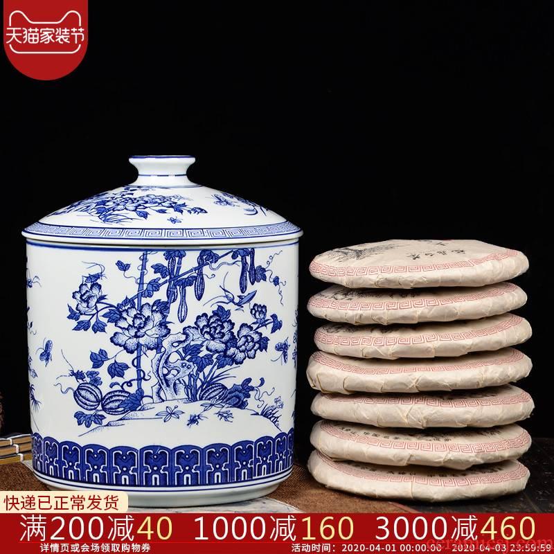 Blue and white porcelain of jingdezhen ceramics furnishing articles large pot of pu 'er tea cake store receives the seventh, peulthai the tea cake tin tea set